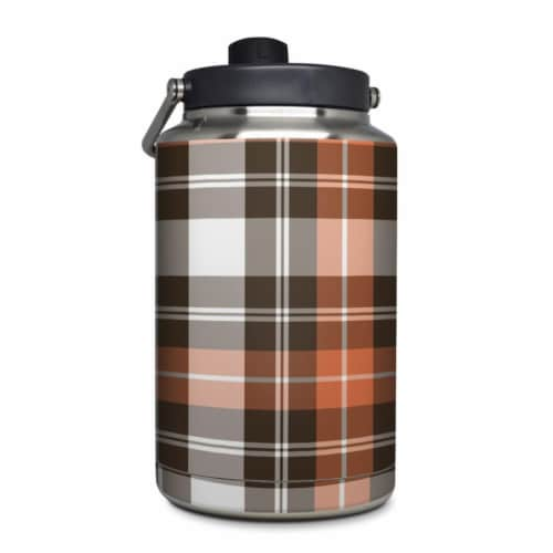 DecalGirl YOG-PLAID-CPR Yeti Rambler 1 gal Jug Skin - Copper Plaid Perspective: front