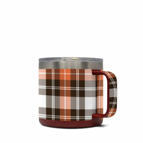 DecalGirl Y14-PLAID-CPR Yeti 14 oz Mug Skin - Copper Plaid Perspective: front