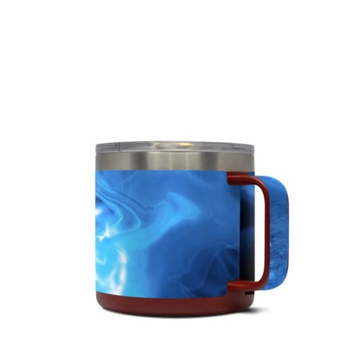 DecalGirl Y14-QWAVES-BLU Yeti 14 oz Mug Skin - Blue Quantum Waves Perspective: front
