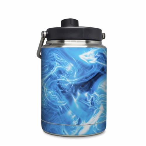 DecalGirl YHG-QWAVES-BLU Yeti Rambler 0.5 gal Jug Skin - Blue Quantum Waves Perspective: front