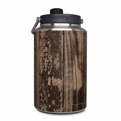 DecalGirl YOG-WWOOD Yeti Rambler 1 gal Jug Skin - Weathered Wood Perspective: front