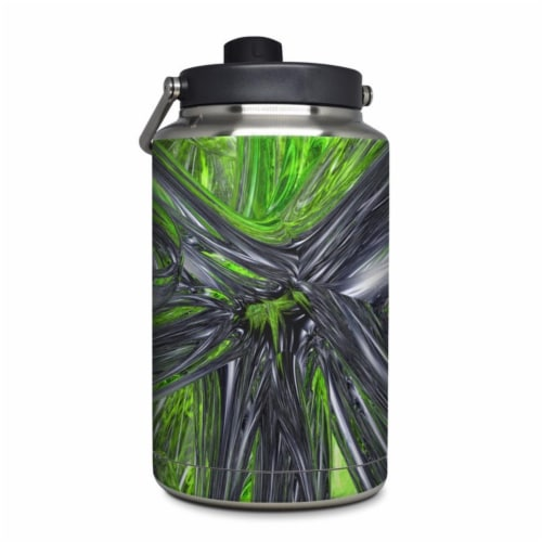 DecalGirl YOG-ABST-GRN Yeti Rambler 1 gal Jug Skin - Emerald Abstract Perspective: front