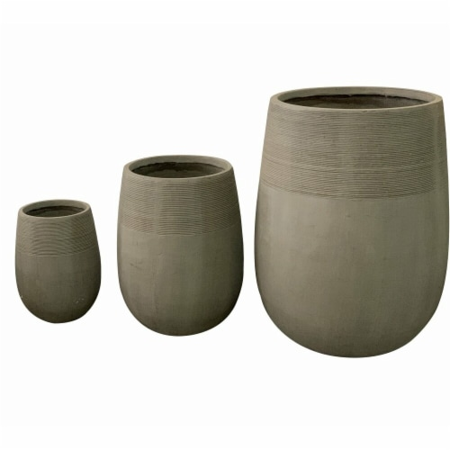 AFD Home 12012780 Striped Ancient Fiber Clay Cement - Set of 3 Perspective: front