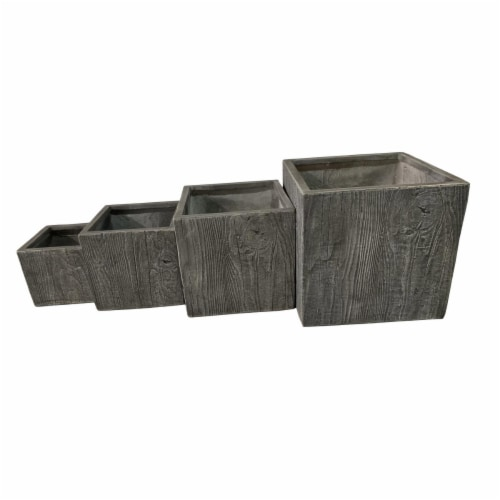 AFD Home 12014005 Wood Style Fiber Clay Planter - Grey - Set of 4 Perspective: front