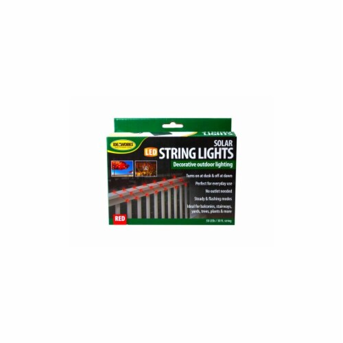 Kole Imports GL991-2 Decorative Outdoor Solar String Lights, Red - Case of 2 Perspective: front