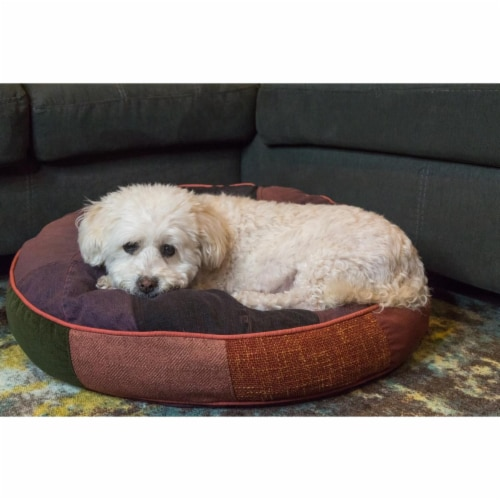 Barking Royals 26-1013-MD-CC Happy Round Dog Bed, Medium Perspective: front