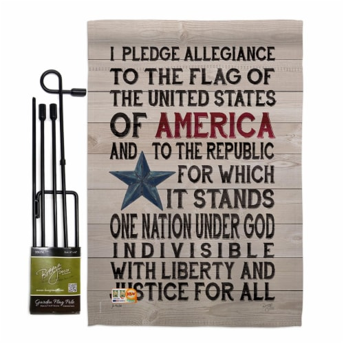 Breeze Decor BD-PA-GS-111085-IP-BO-D-US18-SB 13 x 18.5 in. Pledge of Allegiance Americana Pat Perspective: front