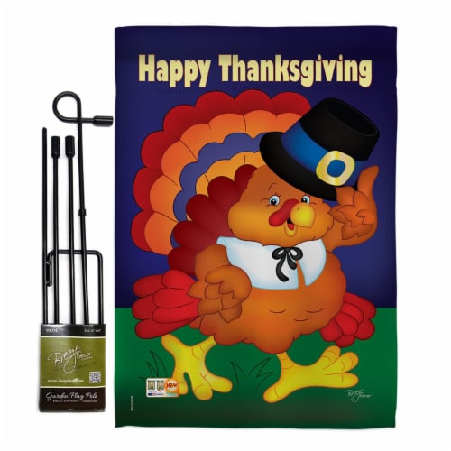 Breeze Decor BD-TG-GS-113037-IP-BO-D-US10-BD 13 x 18.5 in. Happy Thanksgiving Turkey Fall Ver Perspective: front