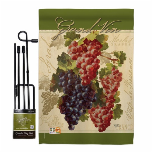 Breeze Decor BD-FT-GS-117041-IP-BO-D-US17-AM 13 x 18.5 in. Red & Purple Grapes Food Fruits Im Perspective: front