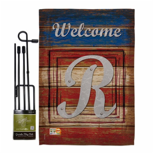 Breeze Decor BD-PA-GS-130122-IP-BO-D-US14-BD 13 x 18.5 in. Patriotic R Initial Americana Impr Perspective: front