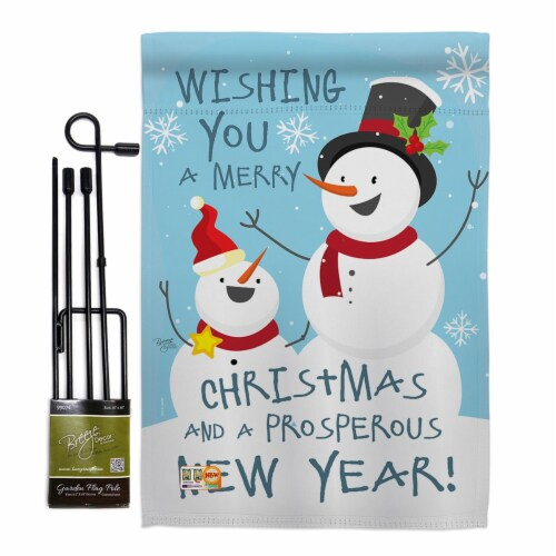 Breeze Decor BD-XM-GS-114146-IP-BO-D-US17-BD 13 x 18.5 in. Snowman Wishing You Winter Christm Perspective: front
