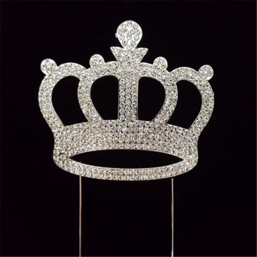 Tian Sweet 33014-CW Silver Crown Rhinestone Cake Topper - Silver Perspective: front