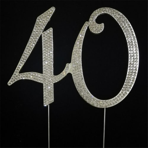 Tian Sweet 33015-40 40th Rhinestone Cake Topper - Silver Perspective: front