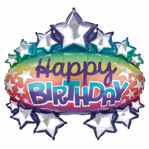 burton + BURTON Happy Birthday Rainbow Shape Balloon Perspective: front
