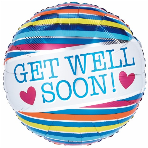 burton + BURTON Get Well Soon Stripes Balloon Perspective: front