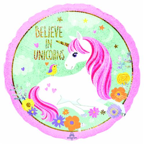 B&B Believe in Unicorns Balloon Perspective: front