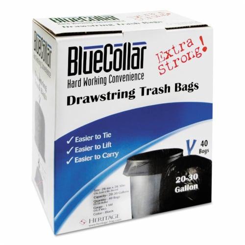Bluecollar N6034YK RC1 Drawstring Trash Bags  20-30 gal  1.0 mil  30 x 34  Black  40-Box Perspective: front