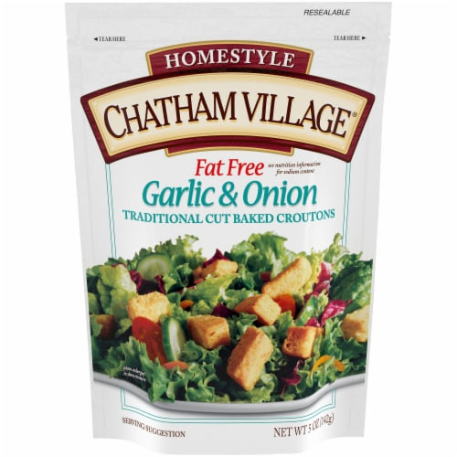 Chatham Village Homestyle Fat Free Garlic & Onion Traditional Cut Baked Croutons Perspective: front