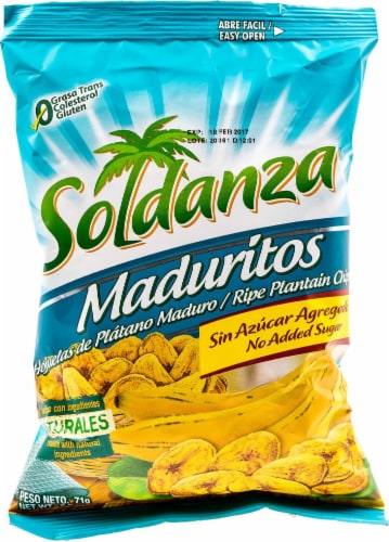 Soldanza Manduritos Plaintain Chips Perspective: front