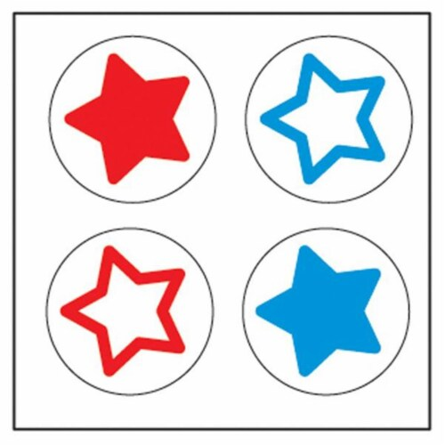 Creative Shapes Etc SE-2625 2 x 8 in. Large Incentive Stickers, Tri-Color Stars - Pack of 172 Perspective: front