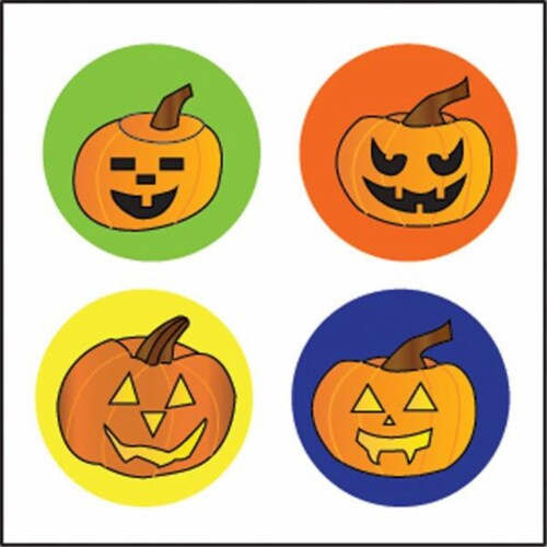 Creative Shapes Etc SE-2658 2 x 8 in. Large Incentive Stickers, Carved Pumpkins - Pack of 172 Perspective: front