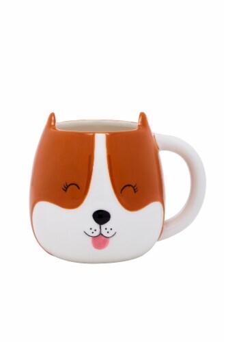 PMI Worldwide Dog Shaped Mug - White/Orange Perspective: front