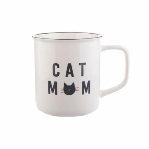 PMI Worldwide Cat Mom Camper Mug - White/Black Perspective: front