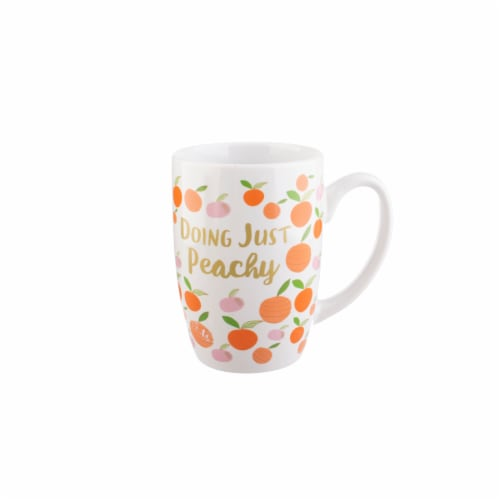 PMI Worldwide Doing Just Peachy Tapered Mug - White/Orange Perspective: front