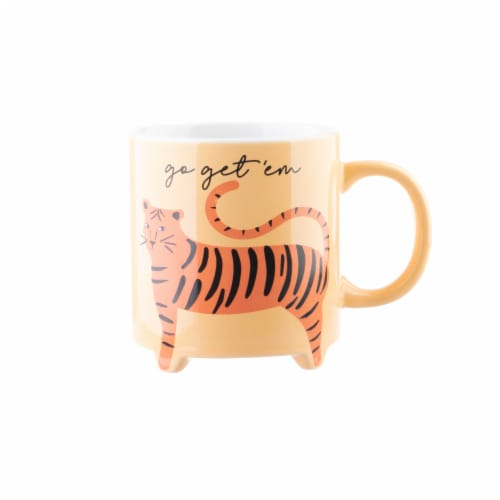 PMI Worldwide Footed Tiger Coffee Mug - Orange Perspective: front