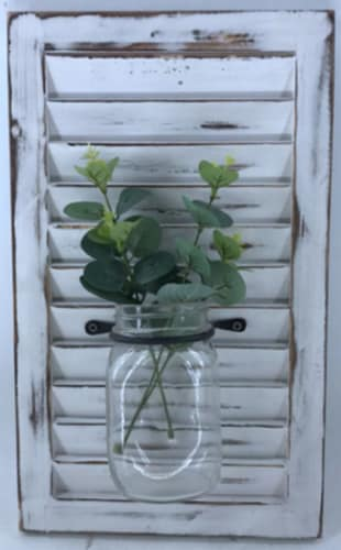 Glass Vase with Greenery Wall Decor Perspective: front