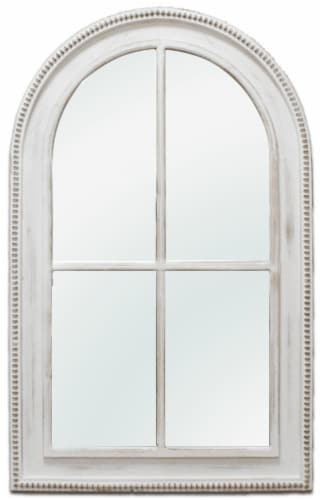 Crystal Art Gallery Window Arch Wall Mirror - White Wash Perspective: front