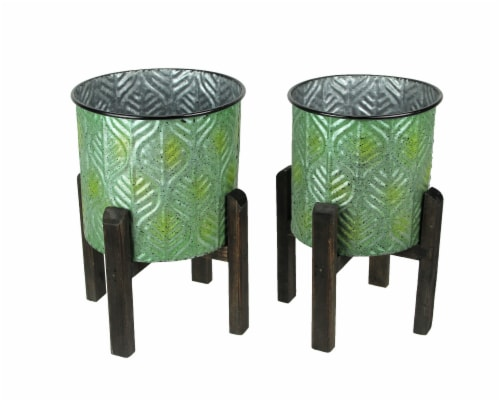 Set of 2 Green Leaf Pattern Stamped Metal Planters With Wooden Stands Perspective: front