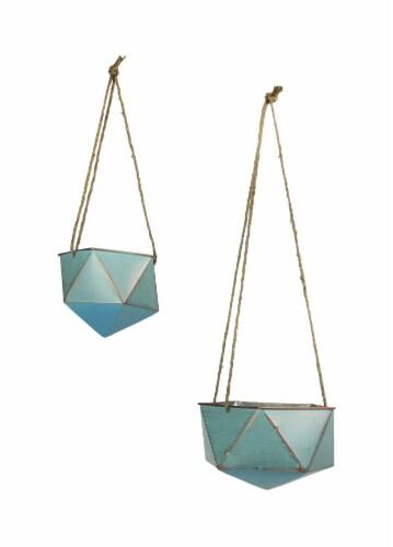 Set of 2 Blue Metal Geometric Hex Hanging Planters Decorative Plant Baskets Perspective: front