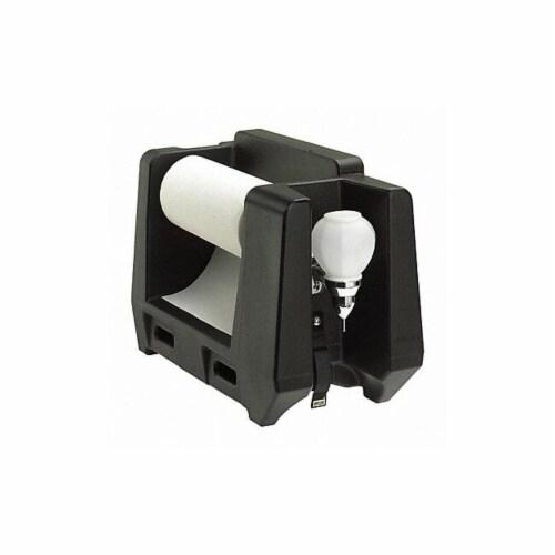 Handwash Station With Soap Dispenser & Paper Towel Roll Holder, Black Perspective: front