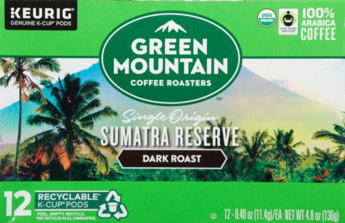 Green Mountain Coffee Sumatra Reserve Dark Roast K-Cup Pods Perspective: front