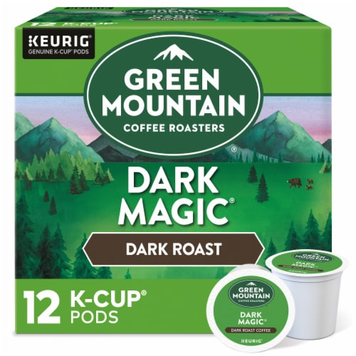 Green Mountain Coffee Dark Magic Dark Roast Coffee K-Cup Pods 12 Count Perspective: front
