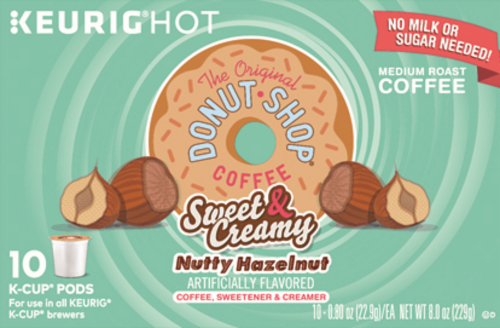Donut Shop Coffee Sweet & Creamy Nutty Hazelnut K-Cup Pods Perspective: front
