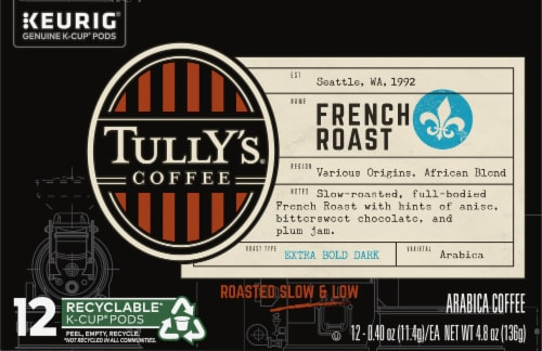 Tully's Coffee French Roast K-Cup Pods Perspective: front