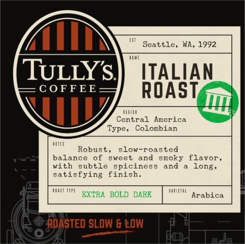 Tully's Coffee Italian Roast K-Cup Pods Perspective: front