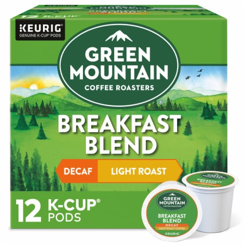 Green Mountain Coffee Decaf Breakfast Blend Light Roast Coffee K-Cup Pods Perspective: front