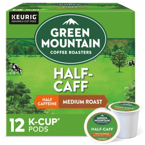 Green Mountain Coffee Roasters Half-Caff Medium Roast Coffee K-Cup Pods Perspective: front