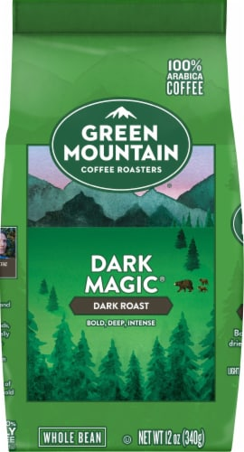 Green Mountain Coffee Dark Magic Espresso Blend Whole Bean Coffee Perspective: front