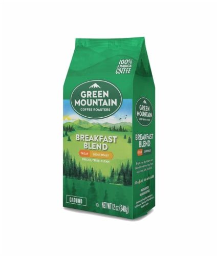 Green Mountain Coffee Decaf Breakfast Blend Light Roast Ground Coffee Perspective: front