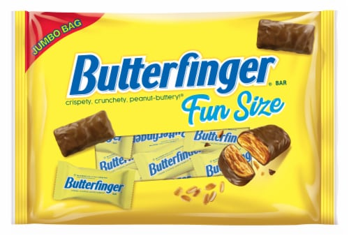 Butterfinger® Fun Size Peanut-Buttery Chocolate-y Halloween Candy Bars Jumbo Bag Perspective: front
