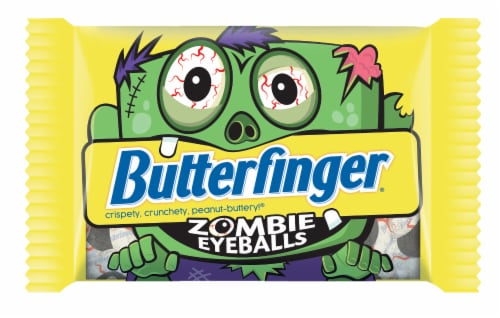 Butterfinger® Zombie Eyeballs Peanut-Buttery Chocolate-y Halloween Candy Perspective: front