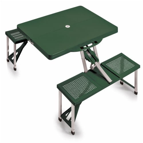 Picnic Table Portable Folding Table with Seats, Hunter Green Perspective: front