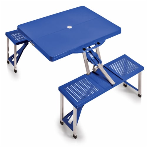 Picnic Table Portable Folding Table with Seats, Royal Blue Perspective: front