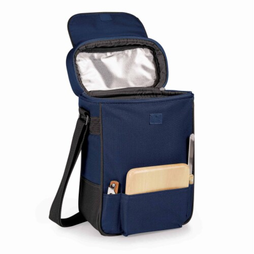 Duet Wine & Cheese Tote, Navy Blue Perspective: front