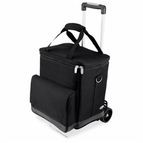 Cellar 6-Bottle Wine Carrier & Cooler Tote with Trolley, Black with Gray Accents Perspective: front