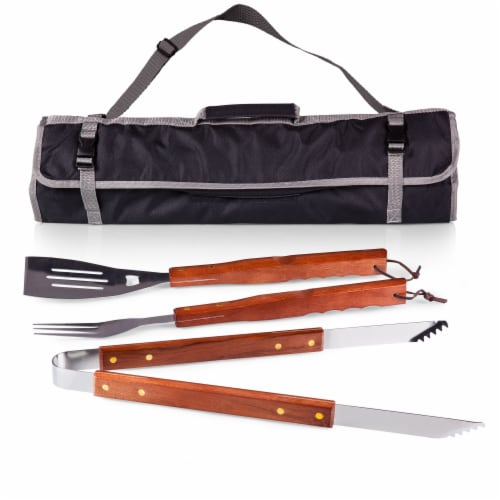 3-Piece BBQ Tote & Grill Set, Black with Gray Accents Perspective: front